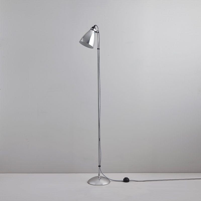 Original Btc Hector Metal Floor Lamp Polished Aluminium Off