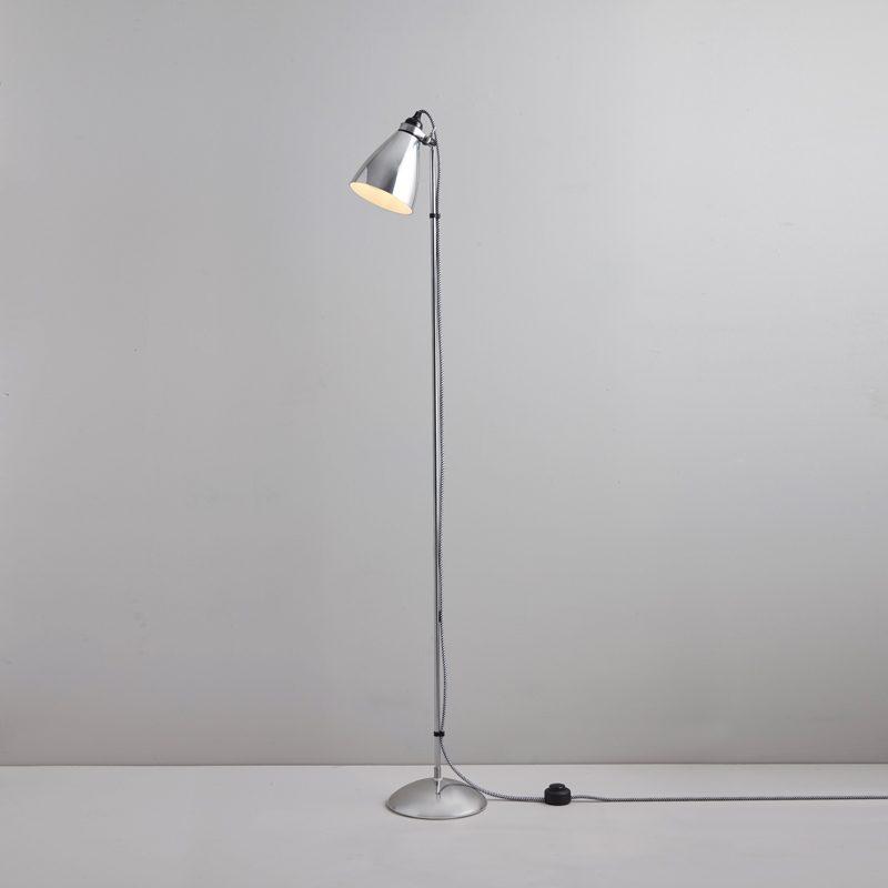 Original Btc Hector Metal Floor Lamp Polished Aluminium