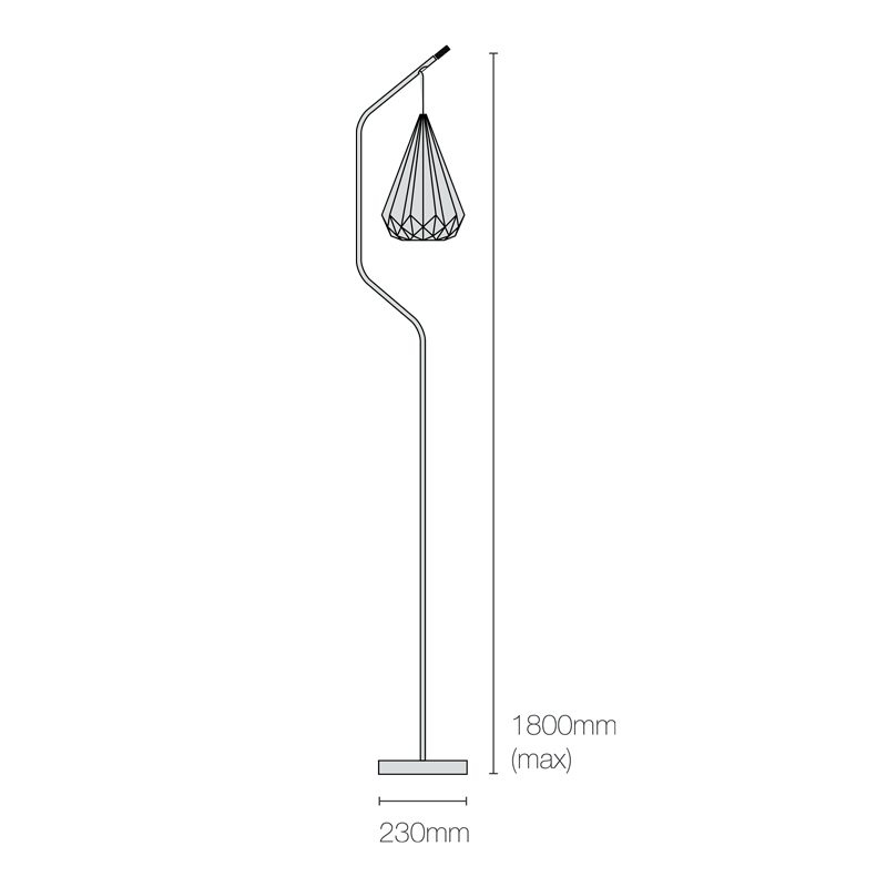 Original Btc Hatton 3 Floor Lamp Line Drawing