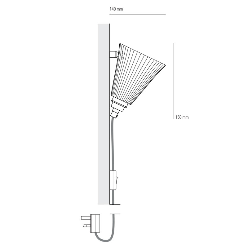 Portable Wall Lights: Portable Pleated Medium Cabled Wall Light
