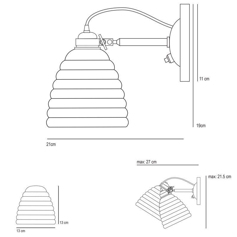 Original Btc Hector Bibendum Switched Wall Light Line Drawing