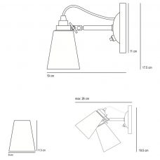 Original Btc Hector Small Pleat Switchedswitched Wall Light Line Drawing