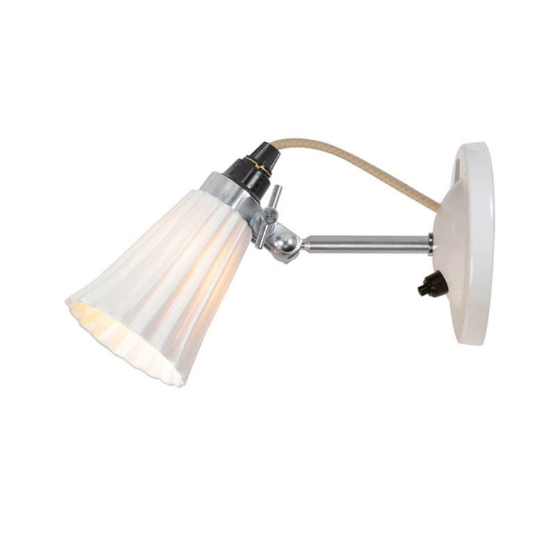 Original Btc Hector Small Pleat Switchedswitched Wall Light White
