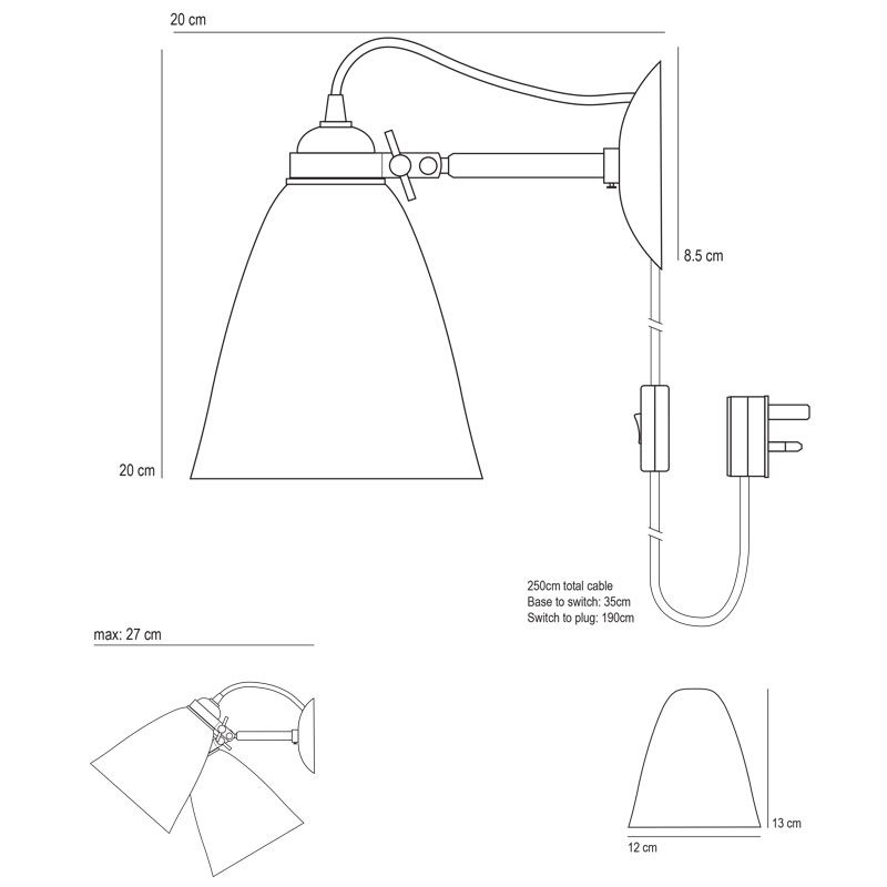 Original Btc Linear Cabled Wall Light Line Drawing