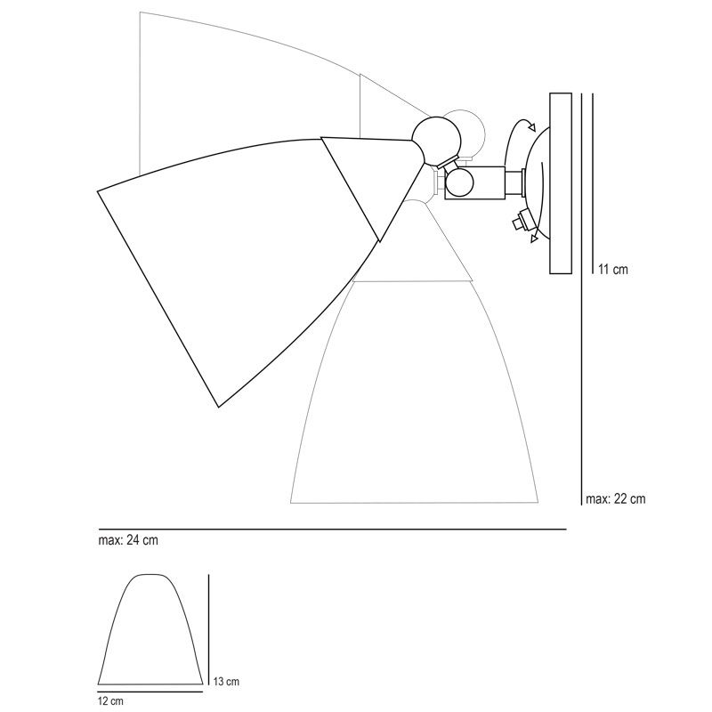 Original Btc Mann Prismatic Switched Wall Light Line Drawing