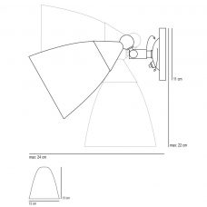 Original Btc Mann Switched Wall Light Line Drawing