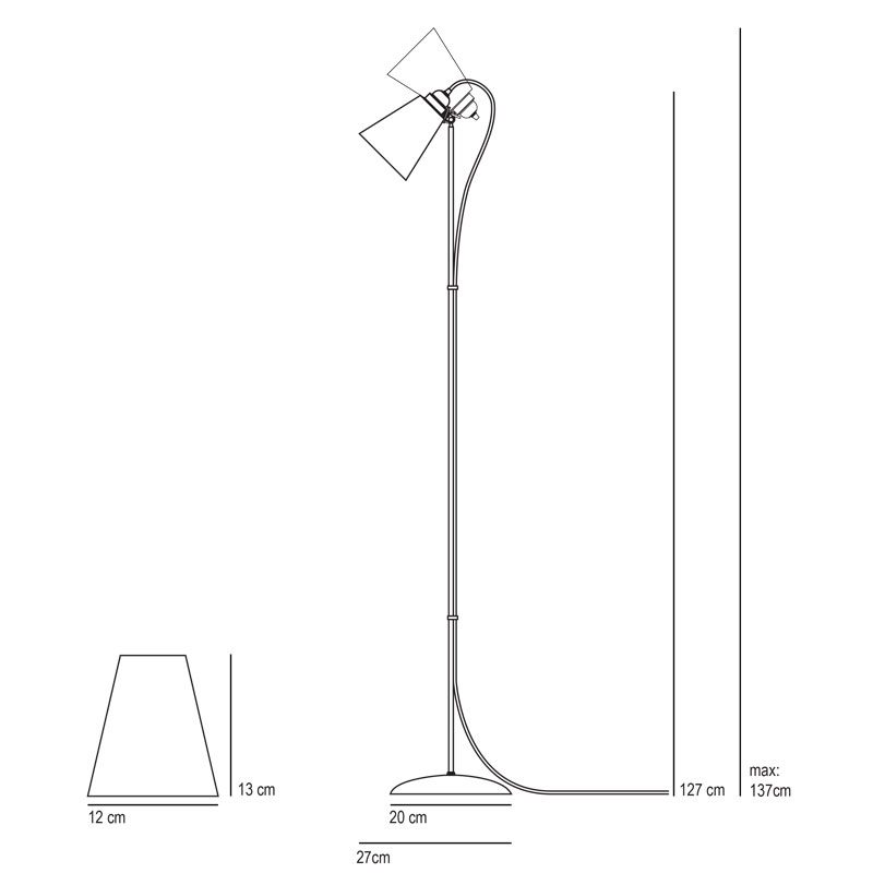 Original Btc Hector Medium Pleat Floor Lamp Line Drawing