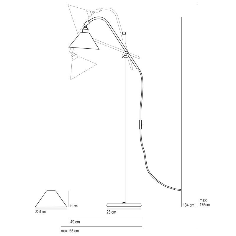 Original Btc Task Cermaic Floor Lamp Line Drawing