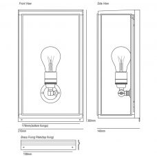 Davey Lighting Box Medium External Glass Wall Light Line Drawing
