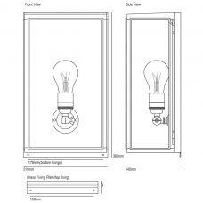 Davey Lighting Box Medium External Glass Wall Light Line Drawing