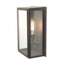 Davey Lighting Box Medium External Glass Wall Light Weathered Brass Clear Glass