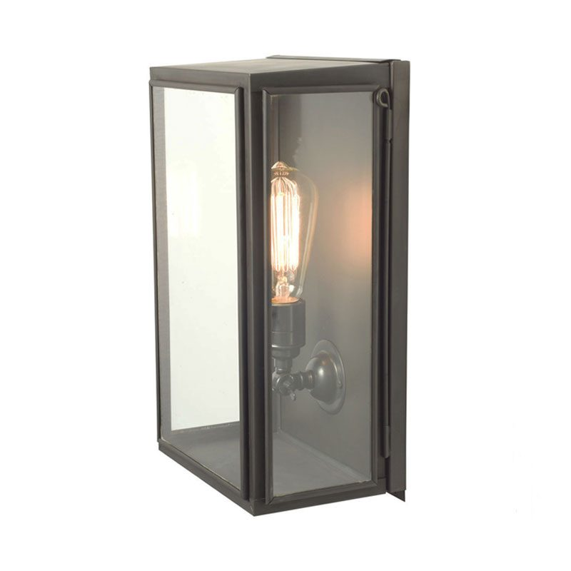 Davey Lighting Box Medium External Glass Wall Light Weathered Brass Clear Glass