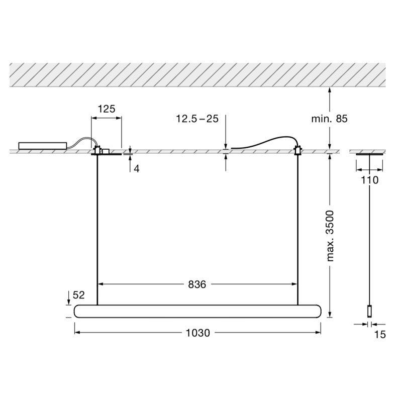 Occhio Mito Volo 100 Flat Pendant Light Line Drawing