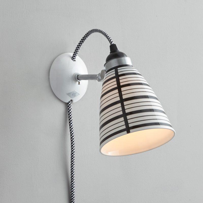 Original Btc Circle Line Plug Switch & Cable Wall Light Black And White On