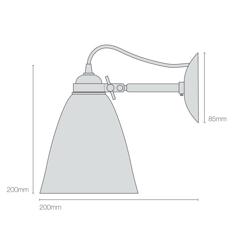 Original Btc Hector Medium Dome Wall Light Line Drawing