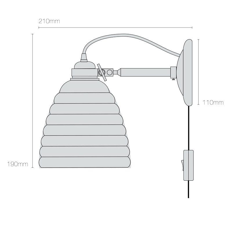 Original Btc Hector Bibendum Plug Switch & Cable Wall Light Line Drawing On