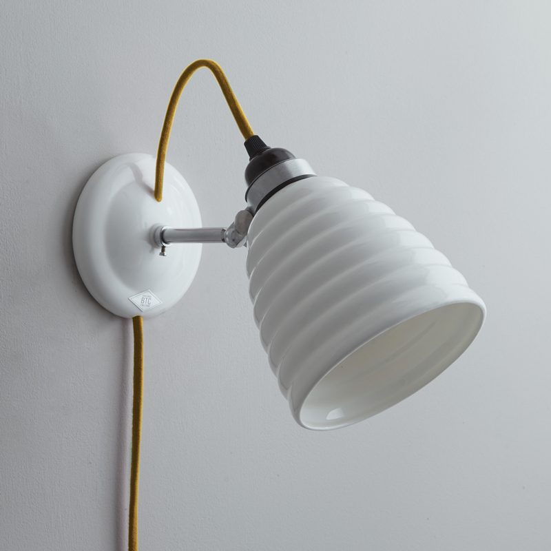 Original Btc Hector Bibendum Plug Switch & Cable Wall Light Yellow Off