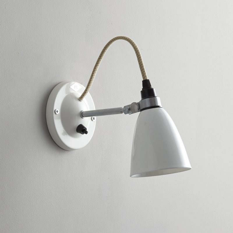 Original Btc Hector Small Dome Switched Wall Light White Off