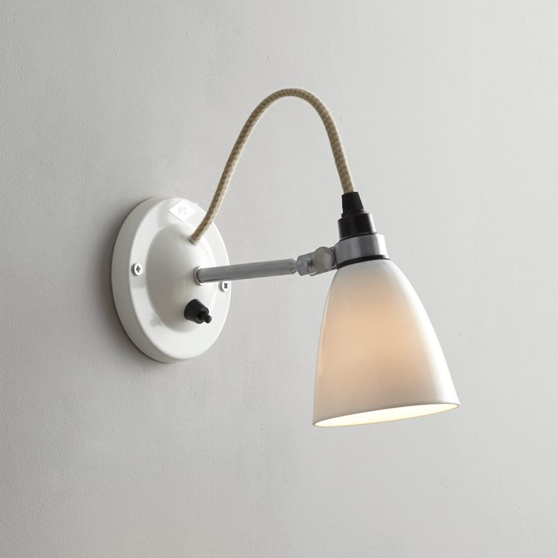 Original Btc Hector Small Dome Switched Wall Light White On