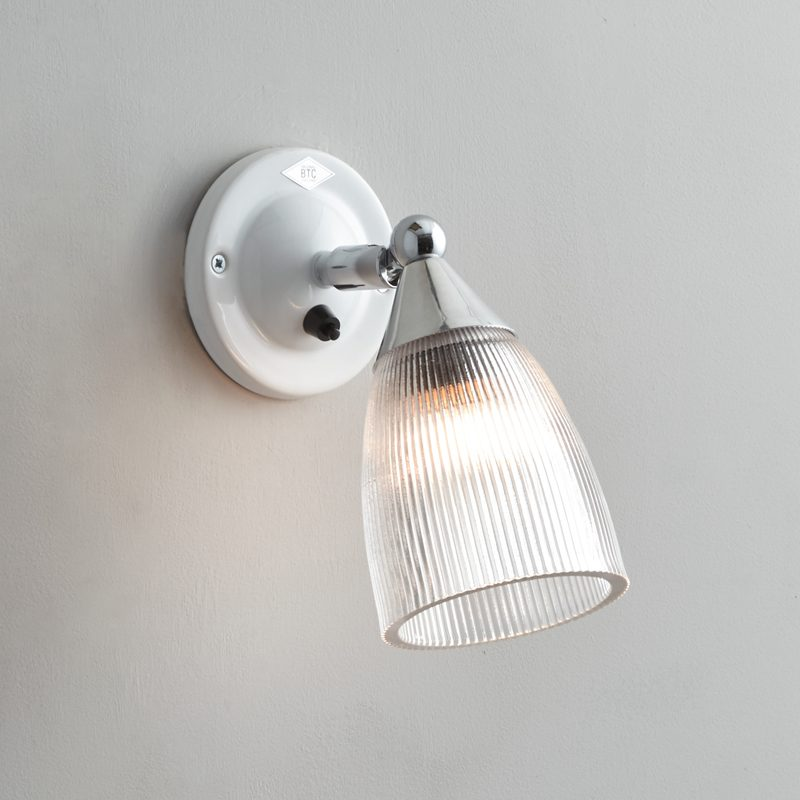 Original Btc Mann Prismatic Switched Wall Light White On
