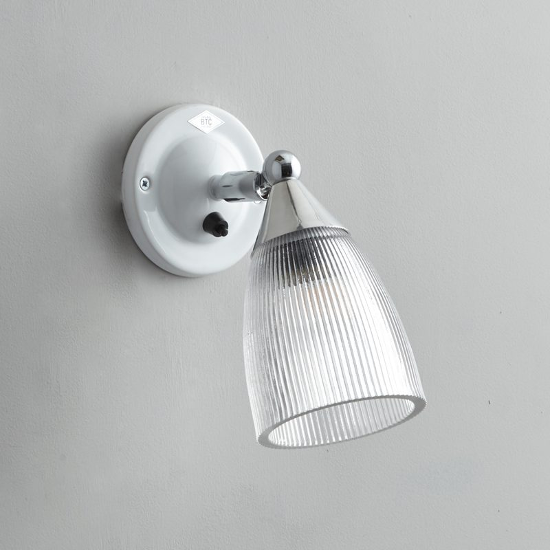 Original Btc Mann Prismatic Switched Wall Light White Off
