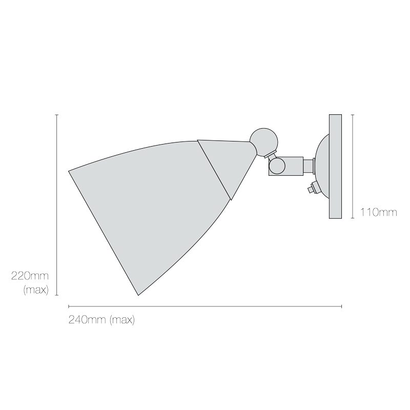 Original Btc Mann Prismatic Switched Wall Light Line Drawing
