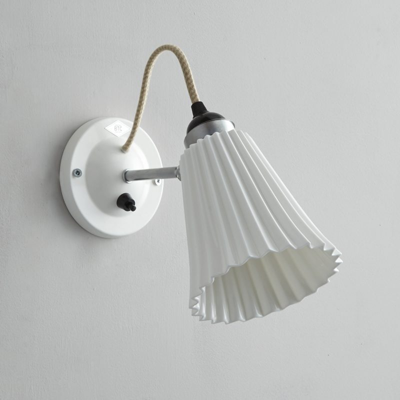 Original Btc Hector Medium Pleat Switchedswitched Wall Light White Off