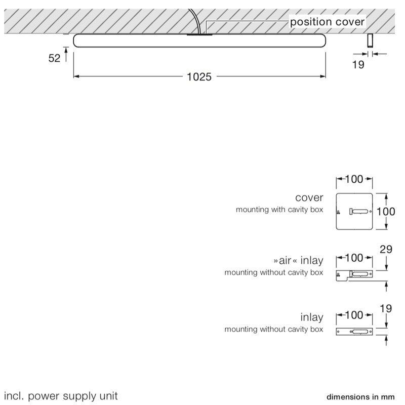 Occhio Mito Alto 100 Up Ceiling Light Line Drawing