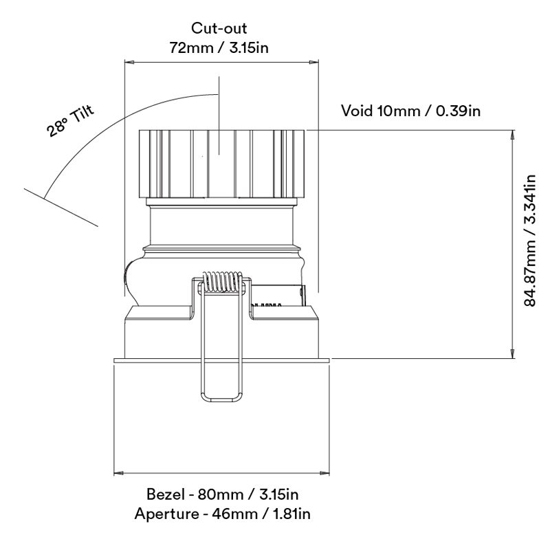Orluna Suri Twin Tilt Rotate Downlight Line Drawing A