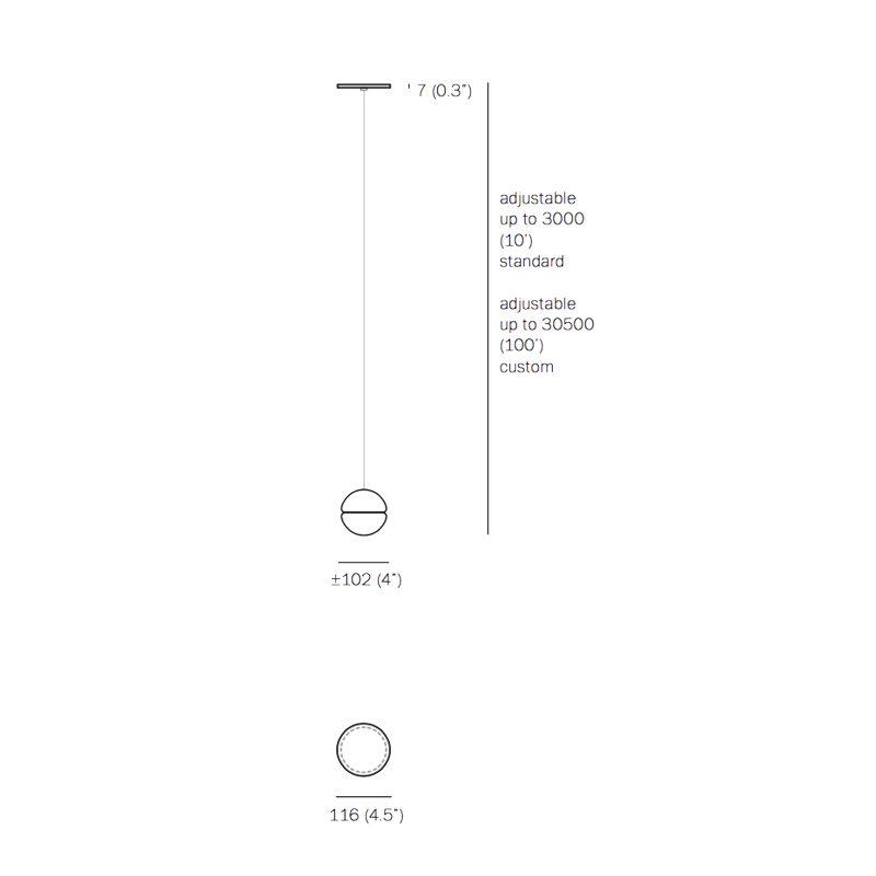 Bocci 14.1 Shallow Canopy Pendant Light Line Drawing