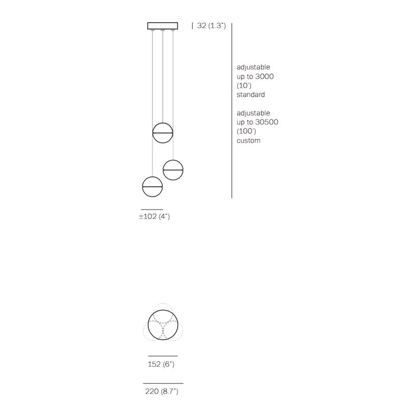 Bocci 14.3 Glass Pendant Light Line Drawing
