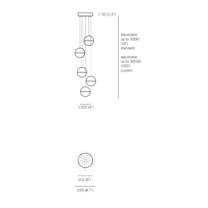 Bocci 14.5 Glass Pendant Light Line Drawing