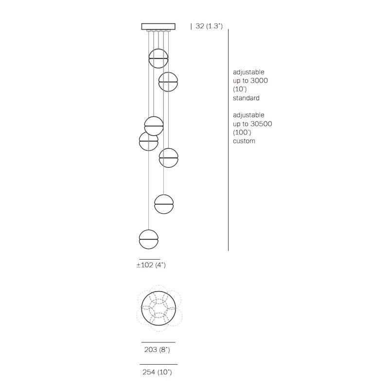 Bocci 14.7 Glass Pendant Light Line Drawing