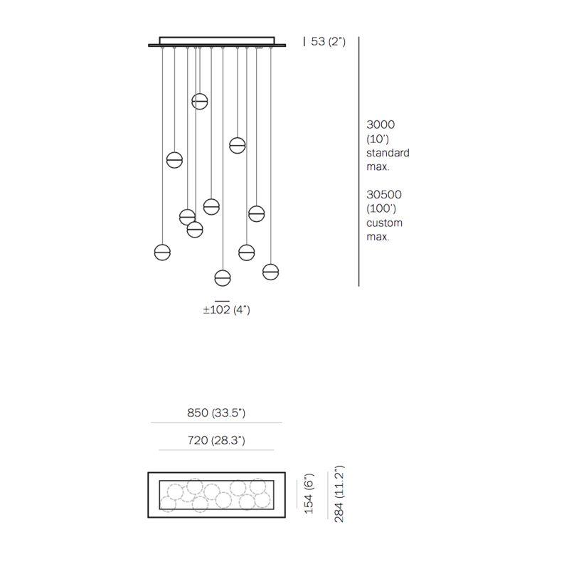 Bocci 14.11 Rectangular Glass Pendant Light Rectangular Line Drawing