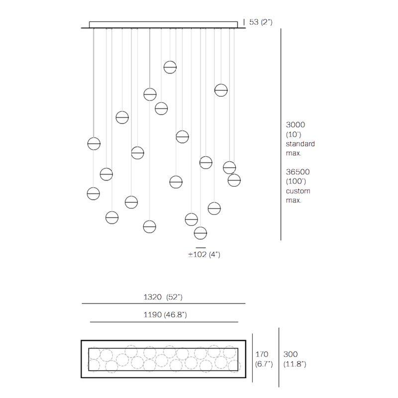 Bocci 14.20 Glass Pendant Light Rectangular Line Drawing