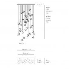 Bocci 14.36 Rectangular Glass Pendant Light Line Drawings