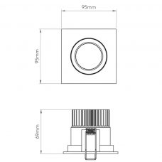 Astro Aprilia Square Adjustable Downlight Line Drawing