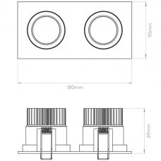 Astro Aprilia Twin Adjustable Downlight Line Drawing