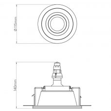 Astro Blanco Round Adjustable Plaster Downlight Line Drawing