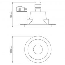 Astro Blanco Round Fixed Plaster Downlight Line Drawing