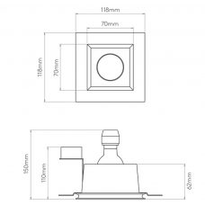 Astro Blanco Square Fixed Plaster Downlight Line Drawing