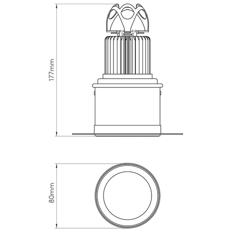 Astro Void 80 Led Downlight Line Drawing
