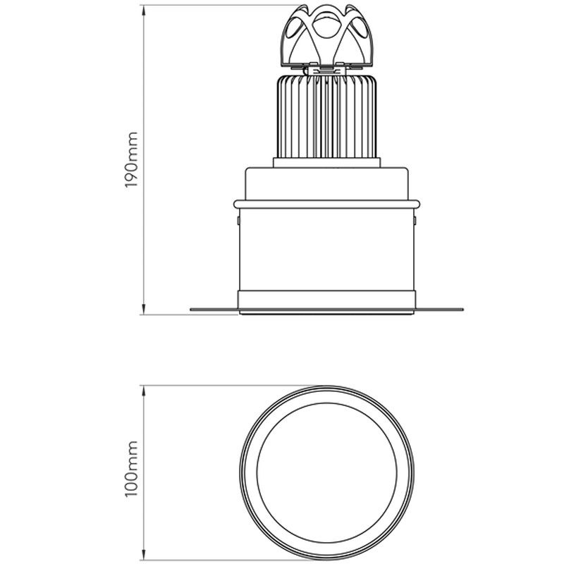 Astro Void 100 Led Downlight Line Drawing