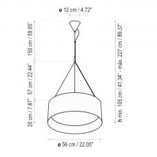 Bover Lighting Cala Led Pendant Line Drawing