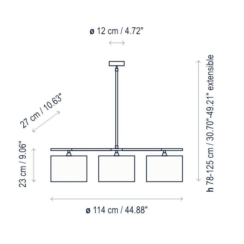 Bover Lighting Danona 3l Pendant Line Drawing