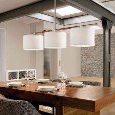 Bover Lighting Danona 3l Pendant Nickel Dark Leather D