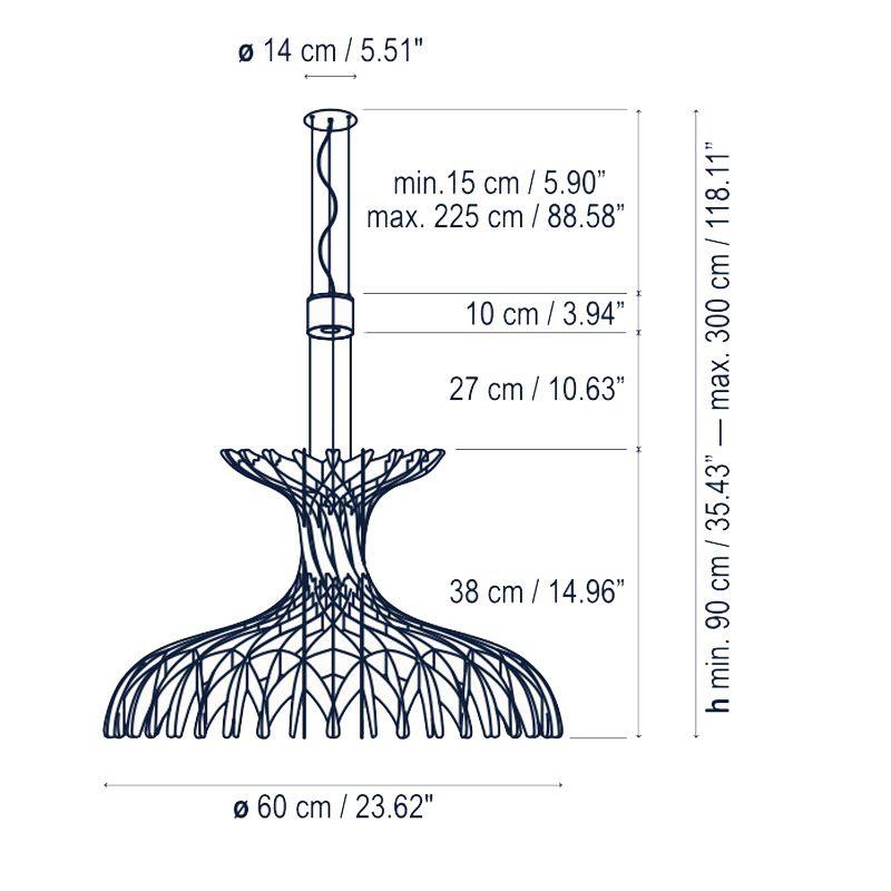 Bover Lighting Dome 60 02 Pendant Light Line Drawing