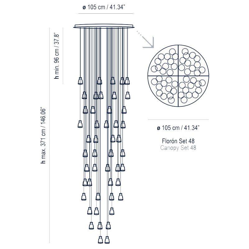 Bover Lighting Drip Drop 48l Pendant Line Drawing