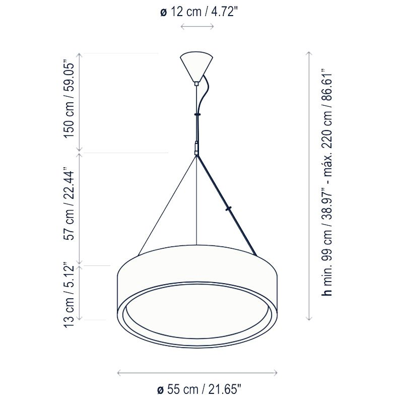 Bover Lighting Elea 55 Pendant Light Line Drawing