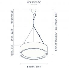 Bover Lighting Elea 55 Led Pendant Light Line Drawing